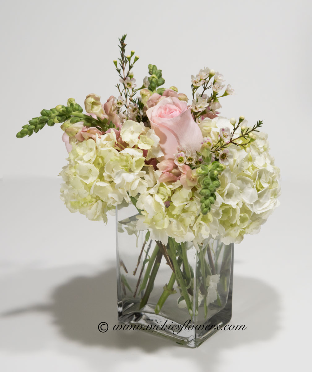Birthday anniversary thank you congratulations vickies flowers bouquet u 027 40 plus tax and delivery pastel pinks roses and white hydrangea with wax flower in classy clear square glass vase reviewsmspy