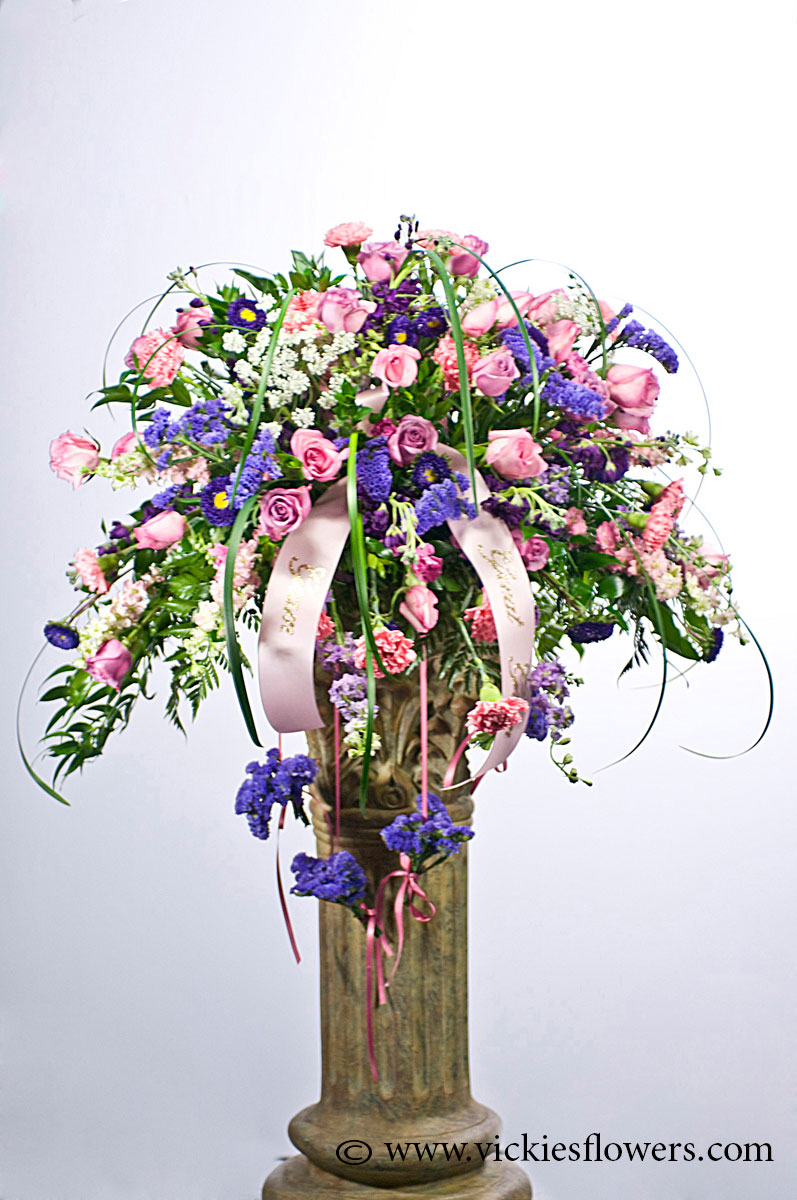 Casket sprays delivered daily vickies flowers brighton co florist casket spray 021 350 plus tax and delivery beautiful large cascading casket spray with pink roses purple statice lavender stock white mightylinksfo