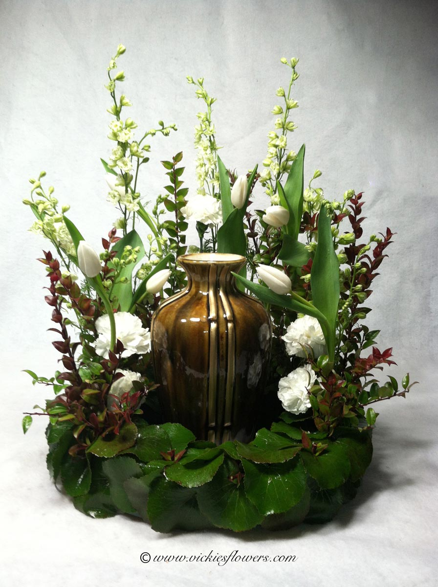 Cremation urn funeral flowers vickies flowers brighton co florist cremation funeral flowers 002 295 plus tax and delivery unique asian styled or sogetsu cremation arrangement with stargazer lilies pink gerber daisies izmirmasajfo Image collections
