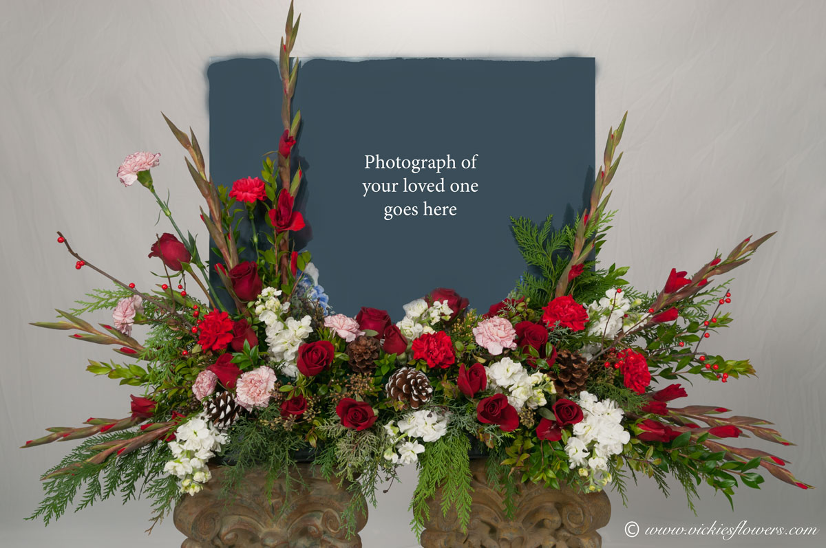 Cremation urn funeral flowers vickies flowers brighton co florist cremation funeral flowers 024 275 plus tax and delivery very large holiday or winter themed red and white cremation with photograph arrangement izmirmasajfo