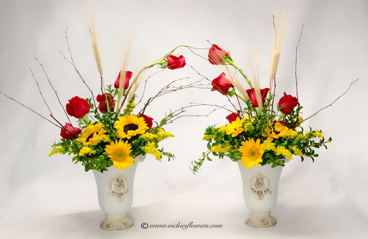 Cremation urn funeral flowers vickies flowers brighton co cremation funeral flowers 029 200 plus tax and delivery beautiful arching cremations arrangement in ornate keep sake ceramic vases dhlflorist Choice Image