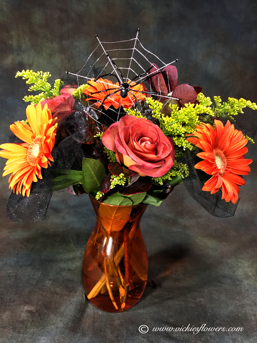 Beautiful fall flowers simple with beautiful fall flowers trendy fall flowers halloween spider plus tax and delivery halloween flower arrangement with spider web orange roses with beautiful fall flowers izmirmasajfo