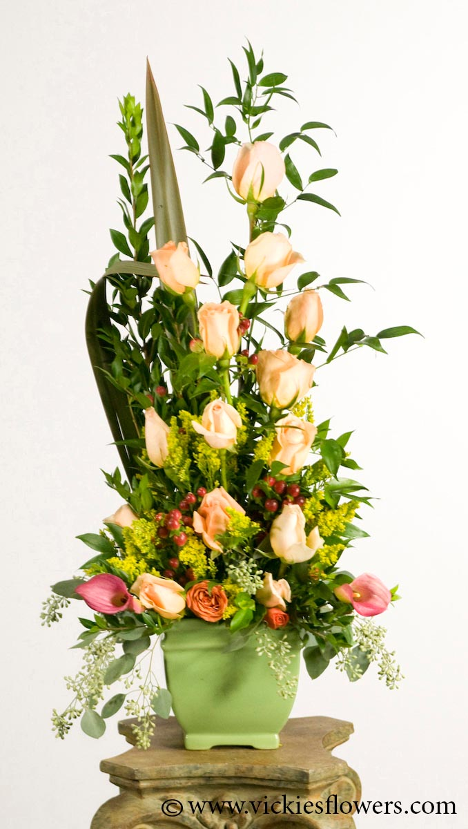 Funeral Sympathy Flowers 011 155 Plus Tax And Delivery Red Pink Roses With Gladiolus Blue Delphinium Fern Custom Labeled