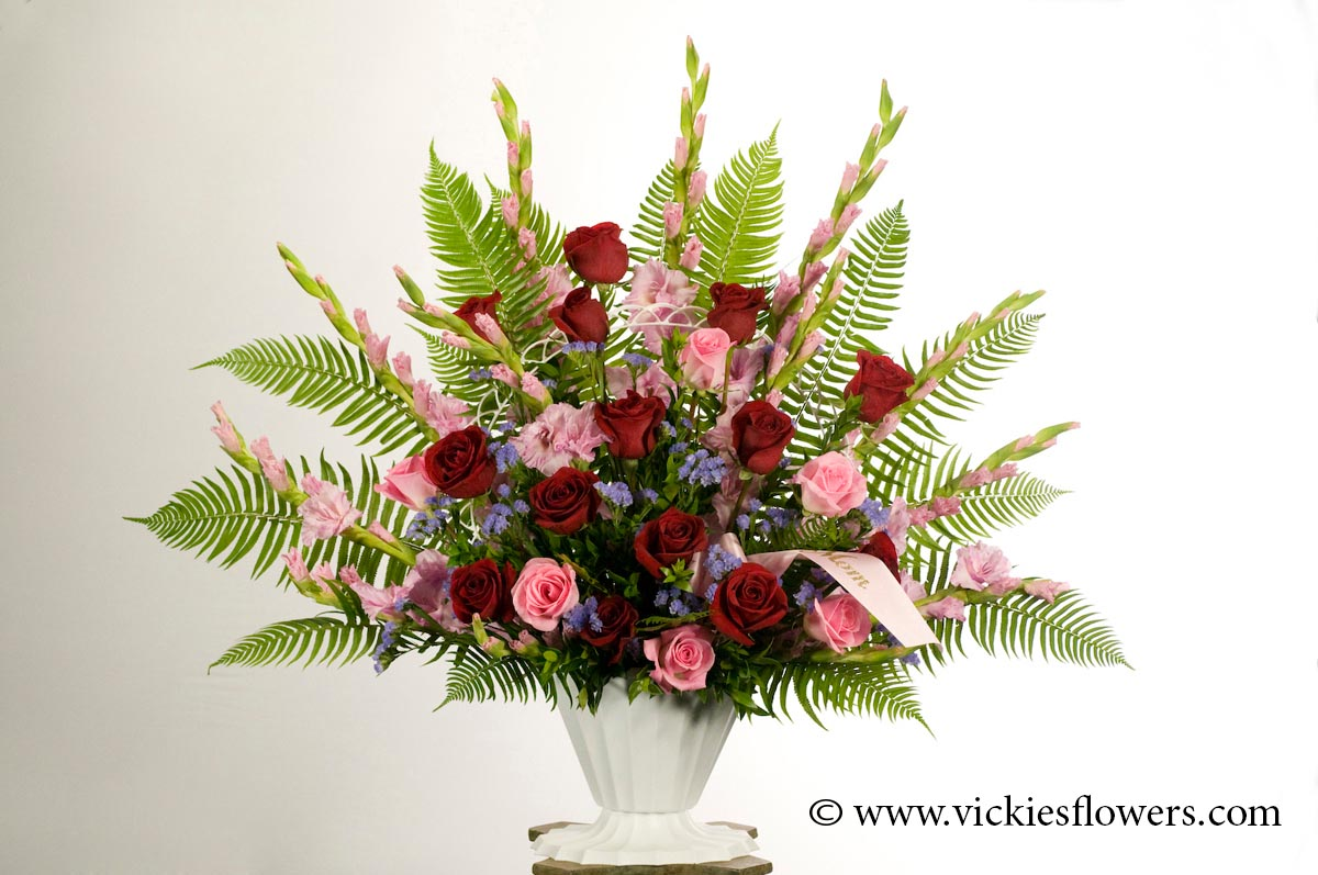 Sympathy flowers and plants vickies flowers brighton co florist funeral sympathy flowers 011 155 plus tax and delivery red and pink roses with pink gladiolus and purple statice with fern and custom labeled pink izmirmasajfo
