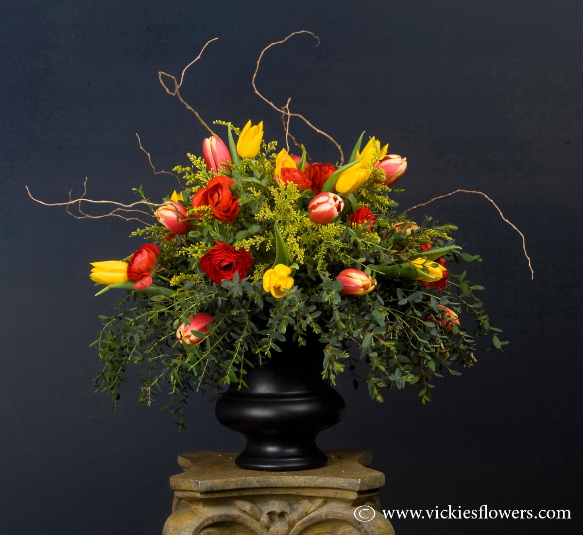 Sympathy flowers and plants vickies flowers brighton co florist funeral sympathy flowers 024 65 plus tax and delivery asian inspired design with red roses yellow football mums wax flower curly willow and pussy izmirmasajfo Images