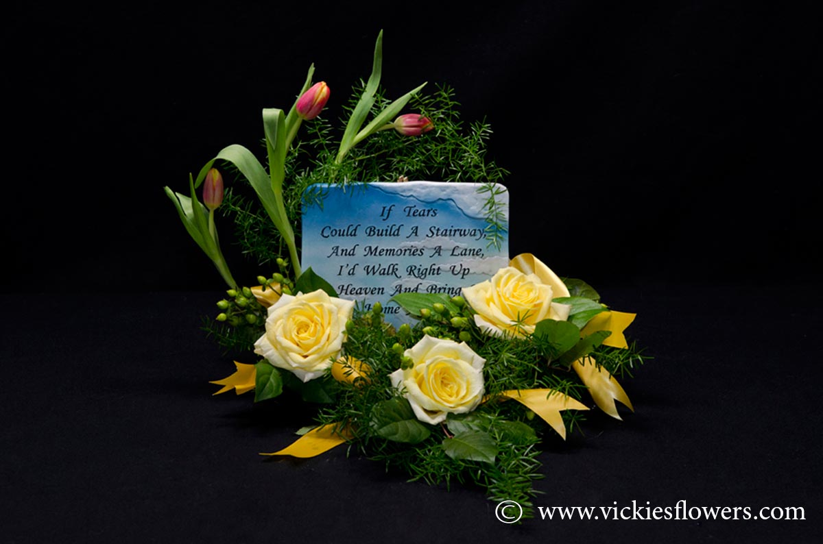 Sympathy flowers and plants vickies flowers brighton co florist funeral sympathy flowers 037 125 plus tax and delivery beautiful memorial arrangement with keep sake plaque tulips roses hypericum berries izmirmasajfo