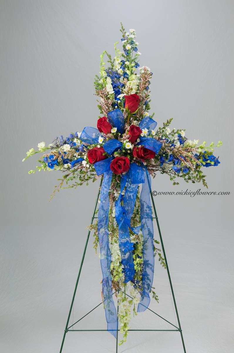 Funeral crosses standing sprays vickies flowers brighton co standing funeral spray 001 185 plus tax and delivery classic funeral cross izmirmasajfo