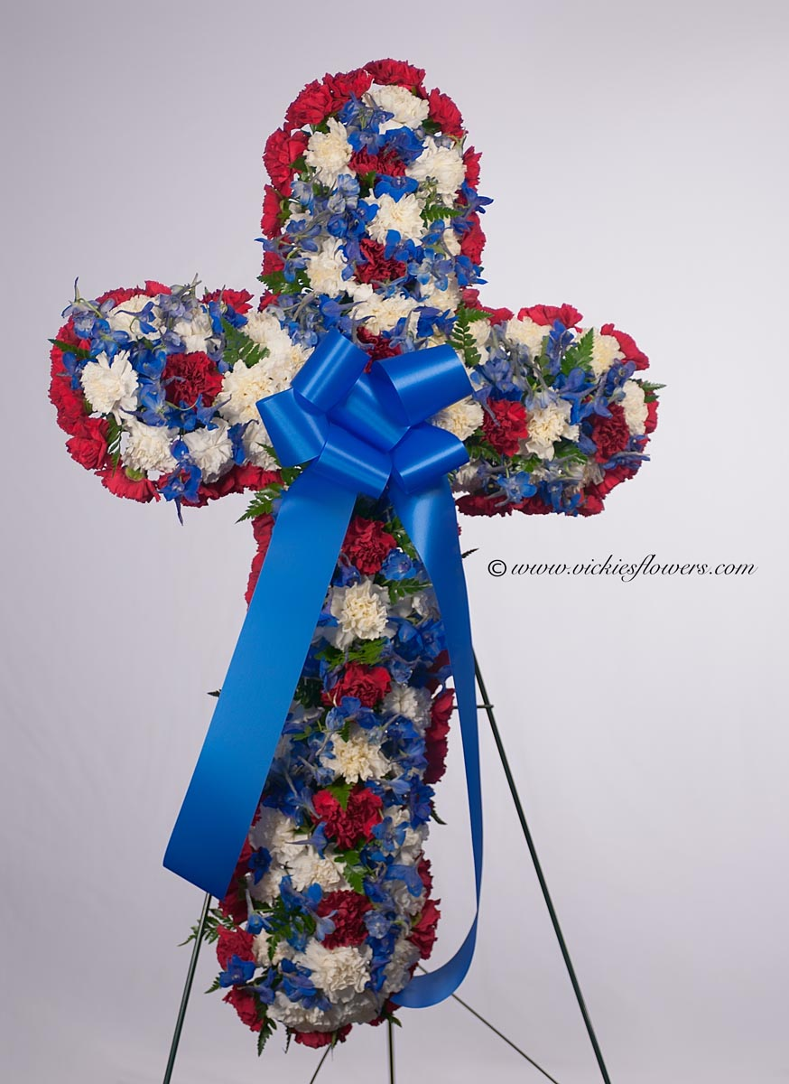 Funeral crosses standing sprays vickies flowers brighton co standing funeral spray 004 175 plus tax and delivery red white and blue funeral cross izmirmasajfo Image collections