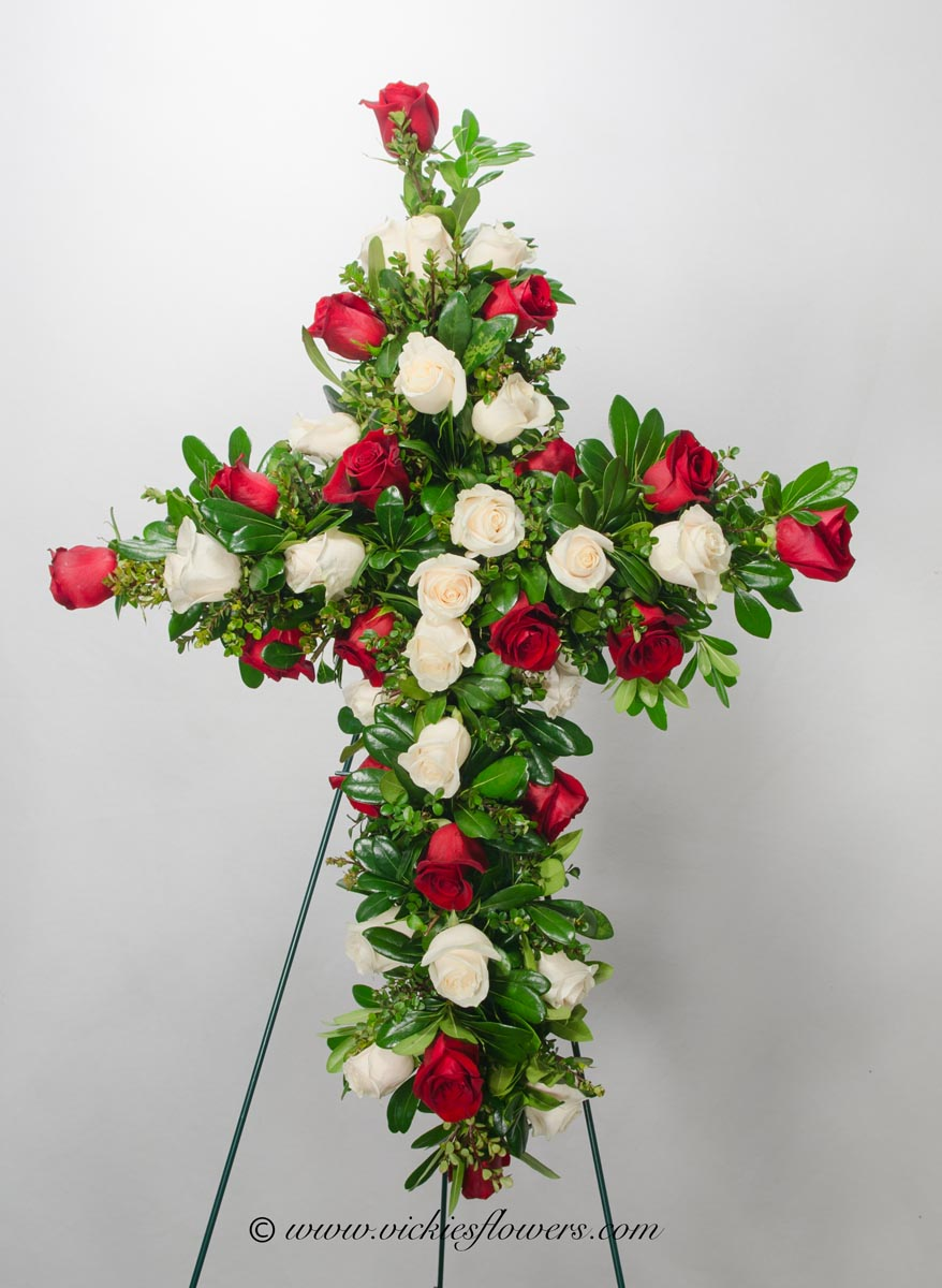 Funeral crosses standing sprays vickies flowers brighton co standing funeral spray 008 195 plus tax and delivery classic standing funeral izmirmasajfo