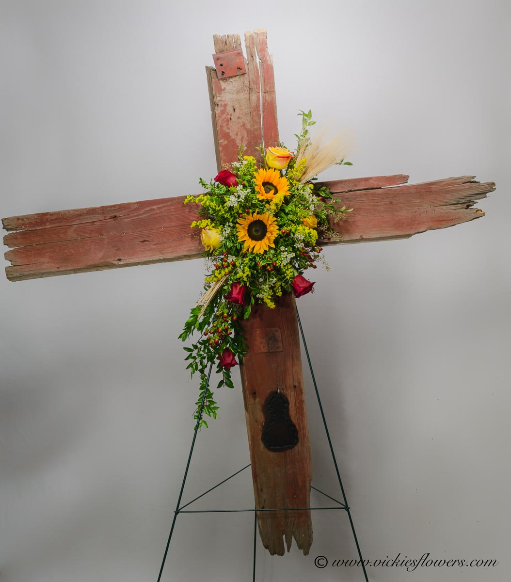 Funeral crosses standing sprays vickies flowers brighton co standing funeral spray 010 150 plus tax and delivery rugged barn wood funeral cross with wild flowers flowers include large sunflowers wheat grass izmirmasajfo