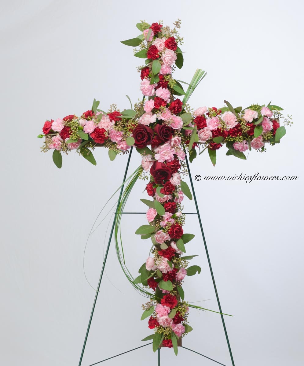 Funeral crosses standing sprays vickies flowers brighton co standing funeral spray 011 185 plus tax and delivery classic funeral cross with red roses pink and red carnations izmirmasajfo