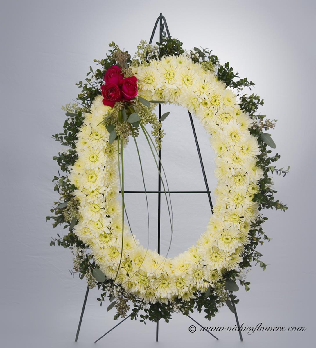 Funeral crosses standing sprays vickies flowers brighton co standing funeral spray 024 225 plus tax and delivery beautiful and class large oval standing spray made with white mums red roses hypericum izmirmasajfo