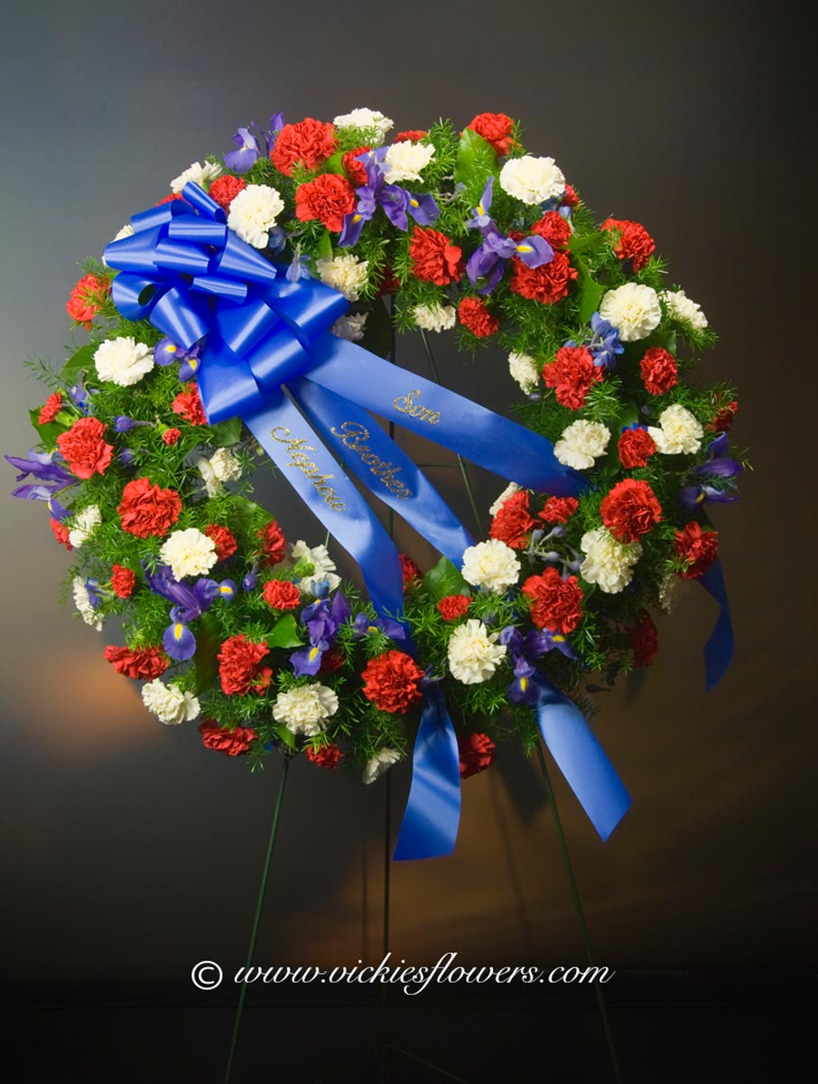 Funeral crosses standing sprays vickies flowers brighton co standing funeral spray 031 295 plus tax and delivery large red white and blue patriotic military wreath izmirmasajfo