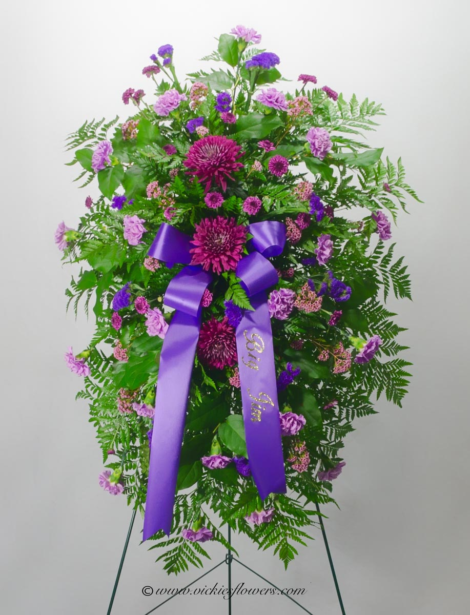 Funeral crosses standing sprays vickies flowers brighton co standing funeral spray 034 250 plus tax and delivery beautiful starburst standing spray in shades of purple three large izmirmasajfo
