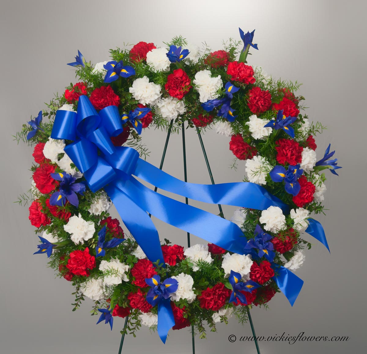 Funeral crosses standing sprays vickies flowers brighton co standing funeral spray 037 275 plus tax and delivery large circular wreath in patriotic or military colors of red white and blue flowers include red izmirmasajfo