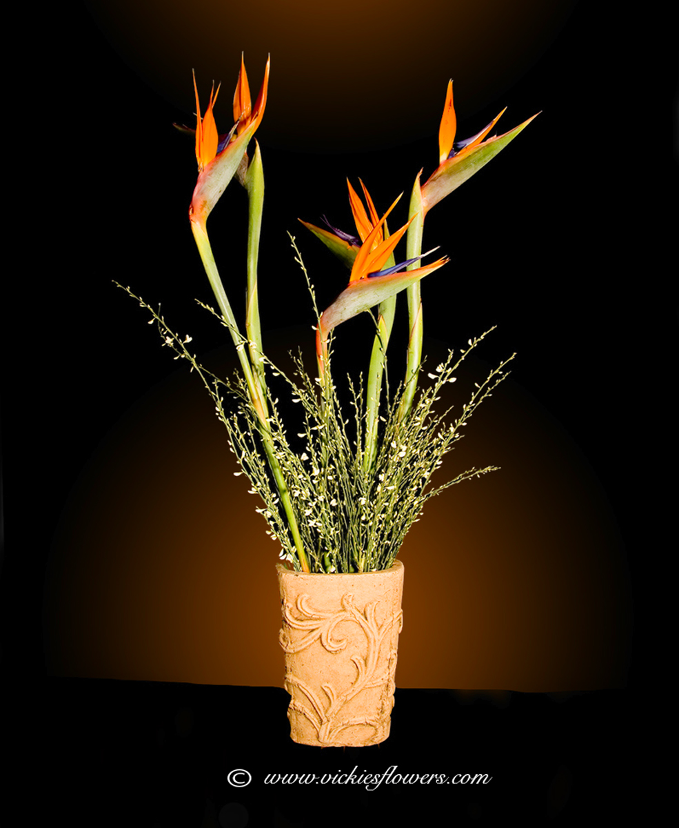 Ikebana asian flower arrangements vickies flowers brighton co ikebana oriental flowers ib 013 65 plus tax and delivery beautiful tall birds of paradise in unique vase call us for tropical flowers buycottarizona