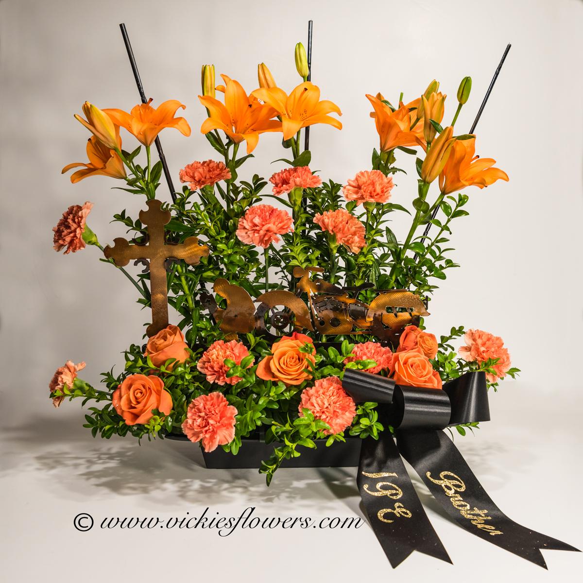 Broncos Harley Funeral Flowers Vickies Flowers Brighton Co Florist