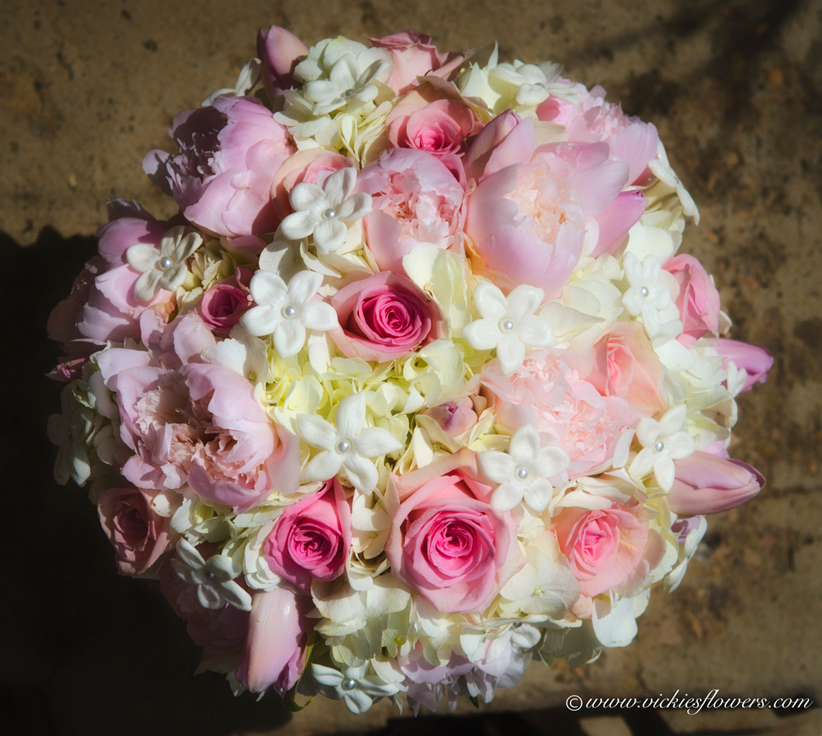 wb 016 beautiful photograph of a pink and pastel colored wedding bouquet with white stephanotis pink roses pink garden roses white hydrangea