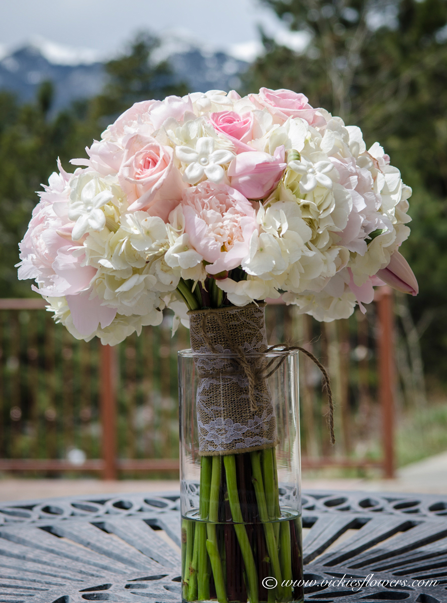 Wedding bouquets vickies flowers brighton colorado florist wb 017 light pink and white pastel wedding bouquet with with white stephanotis pink roses pink garden roses white hydrangea and pink tulips mightylinksfo