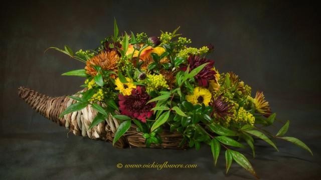 Photograph of Thanksgiving cornucopia flower arrangement