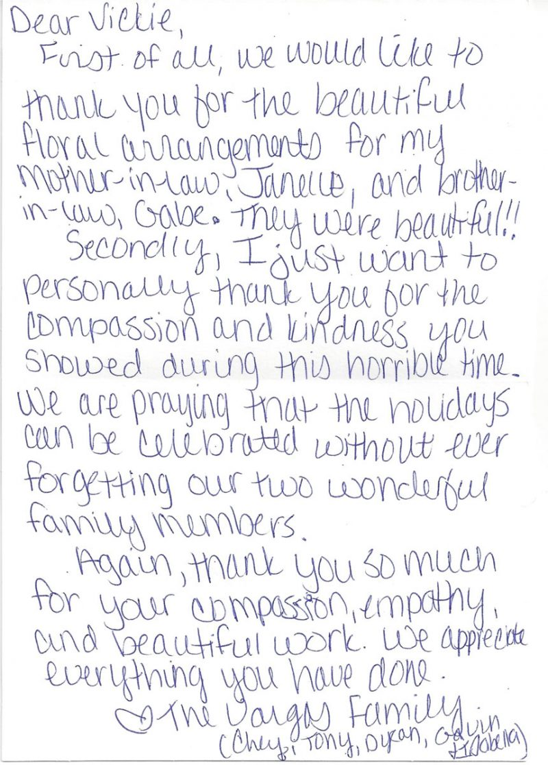 Photograph of hand written thank you note.