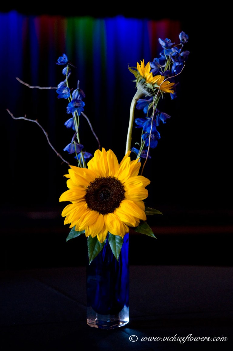 Photograph of Cobalt blue glass vase with bright yellow Sunflowers and blue Delphinium.