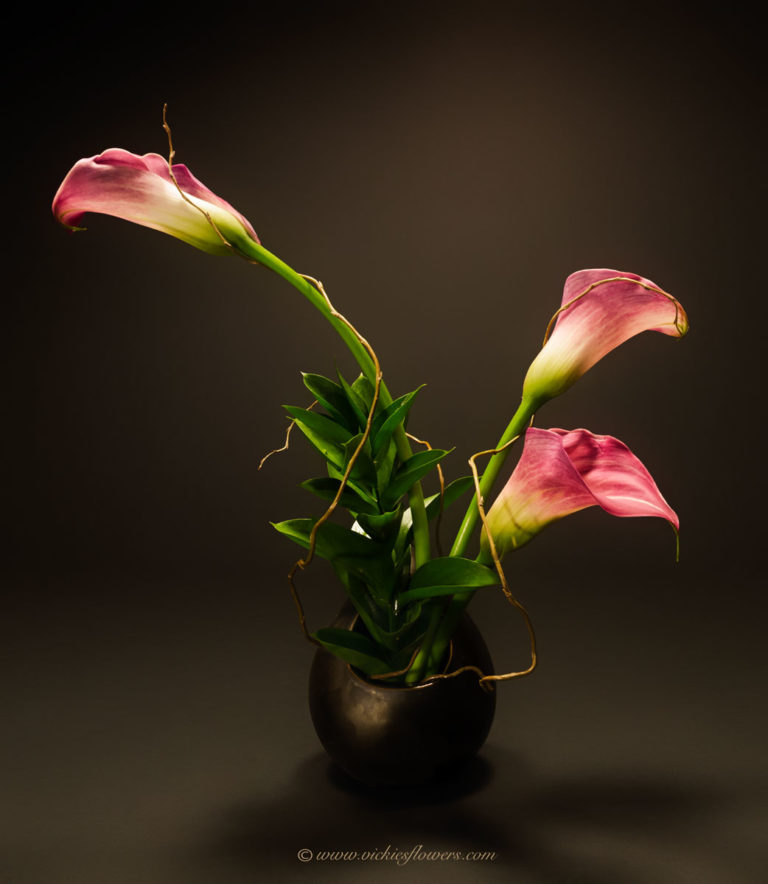 Photograph of Classic pink Calla Lily ikebana in unique ceramic vase.