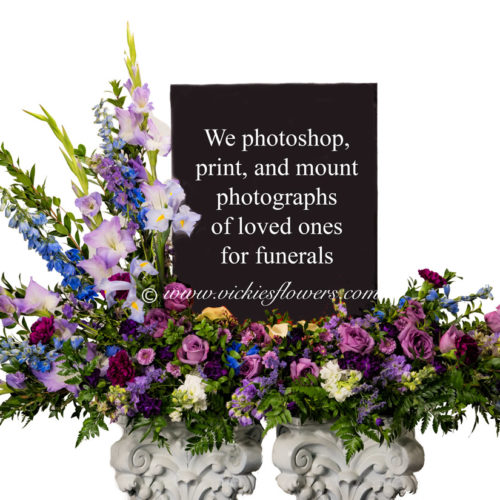 Photograph of funeral flowers for urn.