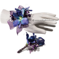 Photograph of blue orchid wrist corsage and blue orchid boutonniere
