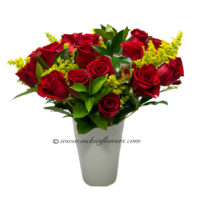 Photograph of 2 dozen red Roses with yellow solidago in a white ceramic vase.