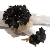 Silk Black and gold corsage and boutonniere set