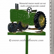 Memorial-Metal-Sculpture-002 Call for price - Metal powder coated multicolored antique tractor with extensions for yard, garden, or grave side.