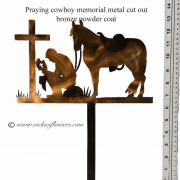 Memorial-Metal-Sculpture-003 Call for price - Metal bronze powder coated metal praying cowboy with horse  with extensions for yard, garden, or grave side.