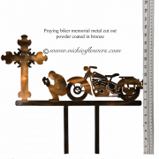 Memorial-Metal-Sculpture-004 Call for price - Metal bronze powder coated praying biker with classic cruiser motorcycle, with extensions for yard, garden, or grave side.