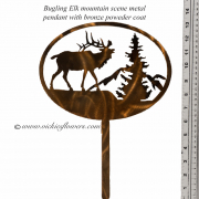 Memorial-Metal-Sculpture-005 Call for price - Metal bronze powder coated bugling Elk pendant with mountain scene, with extensions for yard, garden, or grave side.