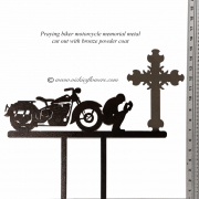 Memorial-Metal-Sculpture-007  Call for price - Metal brown powder coated praying biker with classic cruiser motorcycle, with extensions for yard, garden, or grave side.