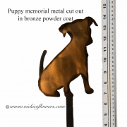 Memorial-Metal-Sculpture-009 Call for price - Metal bronze powder coated puppy with extensions for yard, garden, or grave side.
