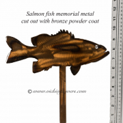 Memorial-Metal-Sculpture-010 Call for price - Metal bronze powder coated Salmon fish with extensions for yard, garden, or grave side.