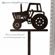 Memorial-Metal-Sculpture-011 Call for price - Metal black powder coated tractor with extensions for yard, garden, or grave side.