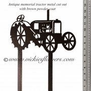 Memorial-Metal-Sculpture-012 Call for price - Metal black powder coated antique tractor with extensions for yard, garden, or grave side.