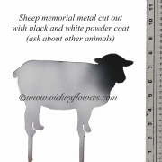 Memorial-Metal-Sculpture-013 Call for price - Metal black and white powder coated sheep (other animals available) with extensions for yard, garden, or grave side.