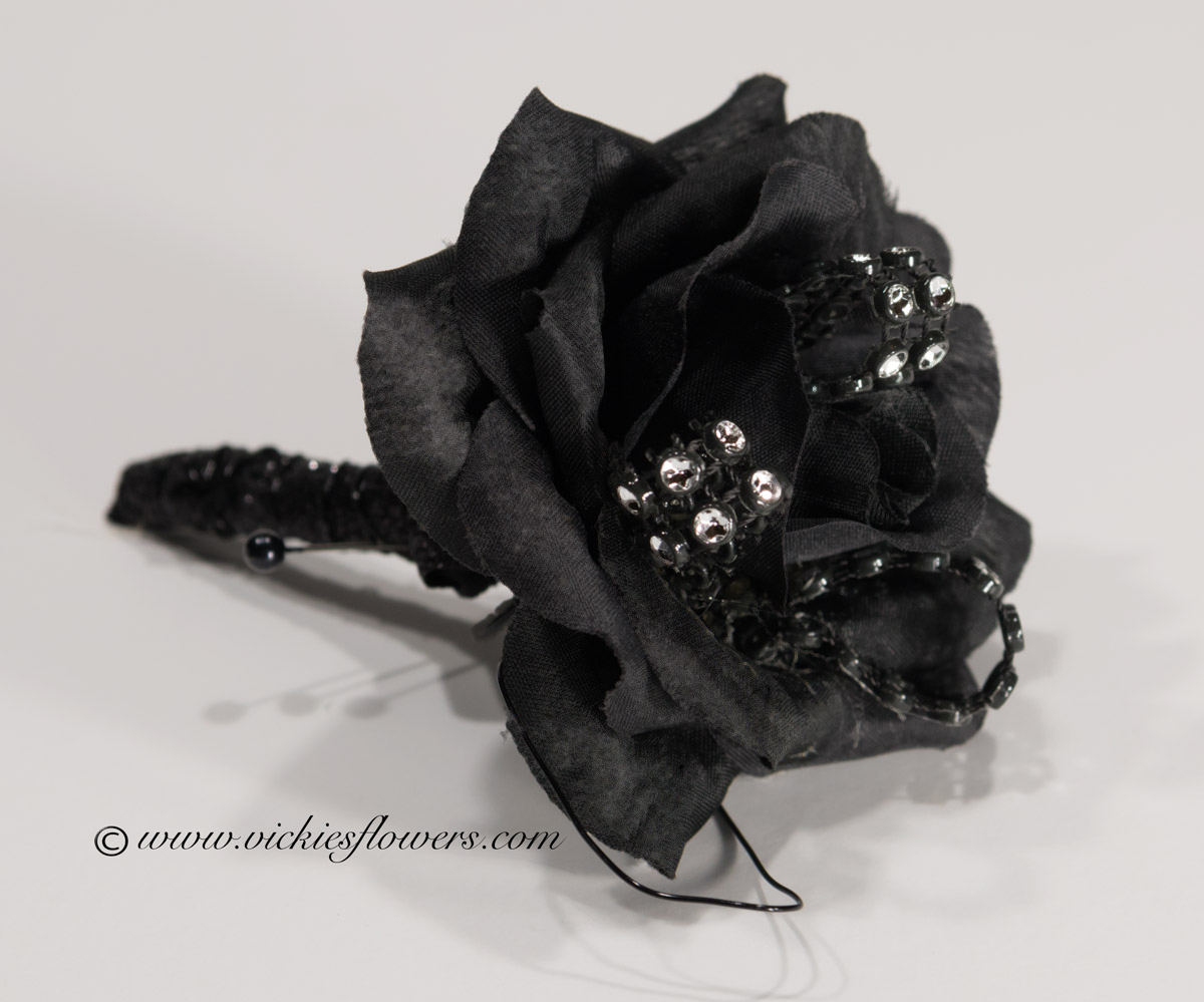 Silk corsage and boutonniere for prom and homcoming vickies flowers prom silk 003 20 plus tax and delivery black rose boutonniere with black wire black ribbon accent and jewels mightylinksfo