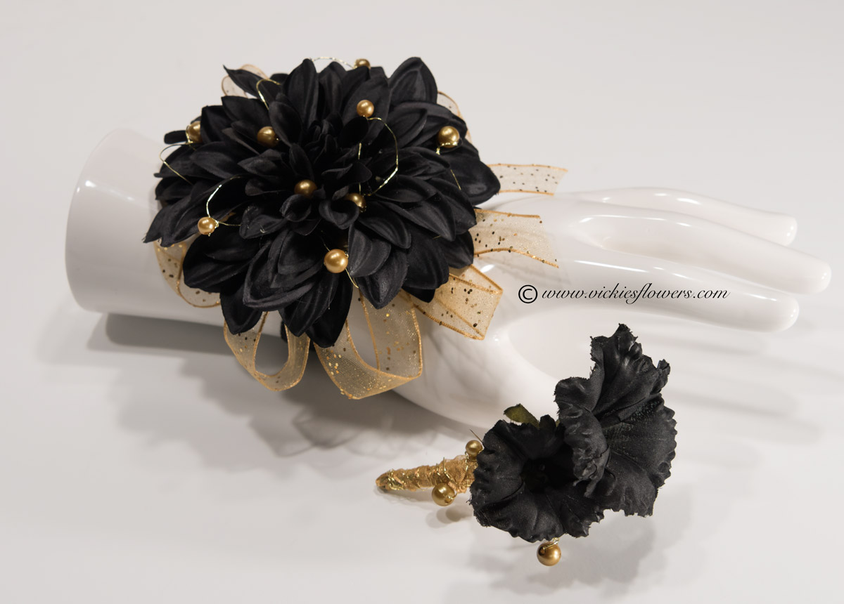 Silk corsage and boutonniere for prom and homcoming vickies flowers prom silk 013 70 plus tax and delivery black and gold wrist corsage with boutonniere set accented with gold ribbon gold beads and black band mightylinksfo