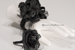 Prom-silk-001 $60  (plus tax and delivery) Black wrist corsage with black Rose boutonniere set for prom or homecoming.