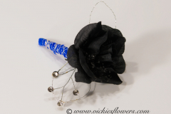 Prom-silk-073 $20 (plus tax and delivery) Black Rose boutonniere accented with shear blue ribbon, diamond jewels, and silver wire.